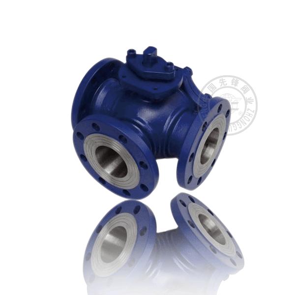 Q44/5H-16C 手動法蘭浮動球三通流道硬密封鑄鋼(WCB)球閥