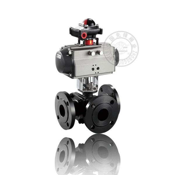 Q644/5H-16C 气动法兰浮动球三通流道硬密封铸钢(WCB)球阀