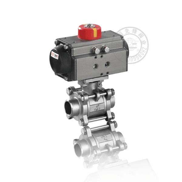 Q661F-16C 气动焊接浮动球直通流道软密封不锈钢(304、316)球阀